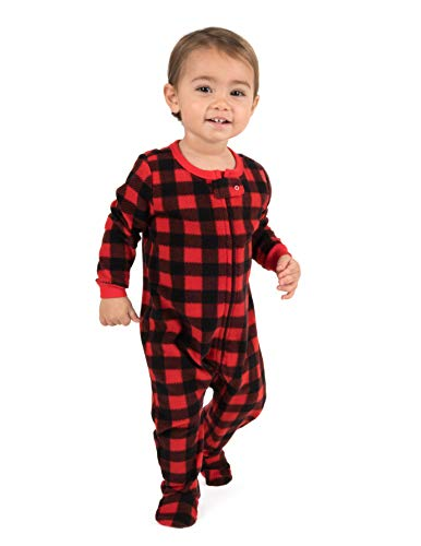 (Leveret Kids Pajamas Boys Girls Footed Fleece Sleeper Plaid Red/Black Size 5 Toddler)