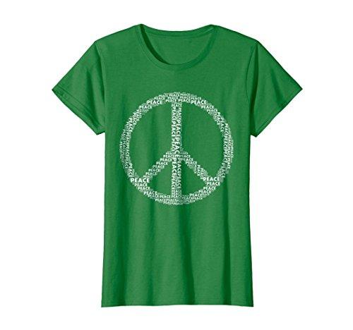 Female Sign Women T-shirt - Womens Peace Sign T-shirt Love All World Peace Tshirt XL Kelly Green