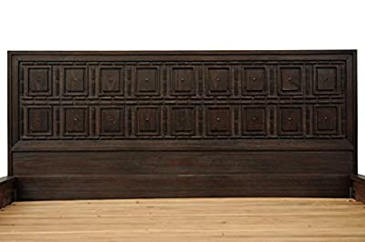 CDI Furniture LI1098QDBR Sand Collection Pine Wood Bed Frame with Headboard, Queen, Dark Brown