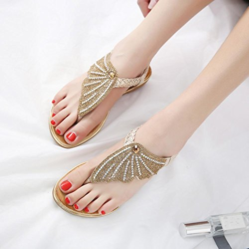 LHWY Sandalen Damen Frauen Bohe Fashion Flat Flip-Flops Strass Casual Glitzer Strand Schuhe Schwarz Sommer Casual Oversized Gold