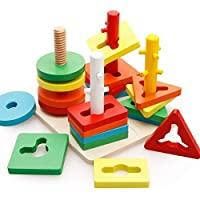 Etailor Wooden Shape Color Recognition Board Geometric Building Blocks Colorful Chunky Puzzle Toys Birthday Gift Toy for Age 2+ Years Old (Multicolor)