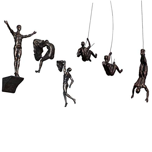 Olpchee 6Pcs Industrial Style Retro Resin Climbing Man Wall Sculpture Creative Hanging Figurine Home Office Decor Statue (Copper Black)