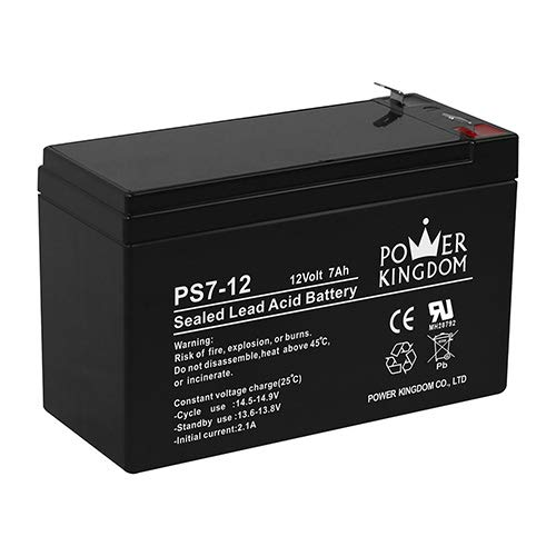 (Power Kingdom 12v 7ah Sealed Lead Acid (Rechargeable) Battery for ups and Alarm System with f1 Terminal)