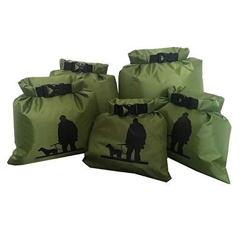 Solek Shop 5pcs Alot 1.5L/2.5L/3.5/4.5L/6L Outdoor Swimming Waterproof Bag Camping Rafting Storage Dry Bag with Adjustable Strap Hook - 5 pcs A Set