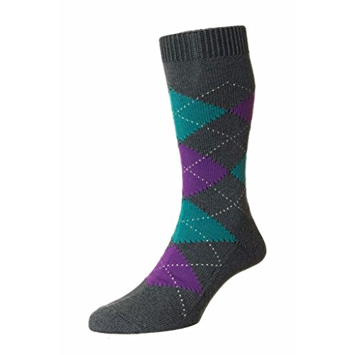 Pantherella Turnmill Egyptian Cotton Argyle Mid Calf Mens Socks, Grey - Medium
