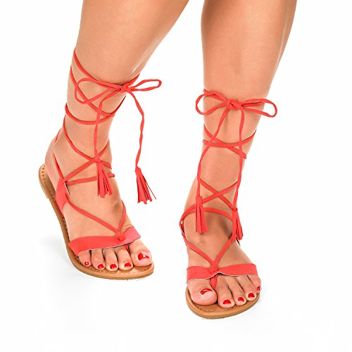 Lace Flat Sammy up Women's Gladiator Sandals Coral PAIRS DREAM q4Sxff