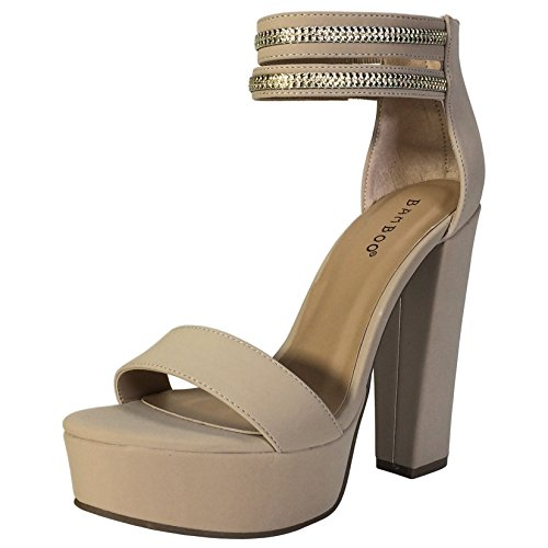 BAMBOO Women's High Chunky Heel Platform Sandal with Double Ankle Strap, Nude Nubuck PU, 7.5 B US ()
