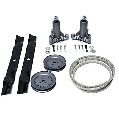 """Deck Rebuild Kit for Craftsman Poulan Husqvarna Includes 2 Heavy Duty Spindles 130794, 2 Oregon Mulcher Blades 134149, 2 Pulleys 173436, Kevlar Deck Belt 144959 95"""""""