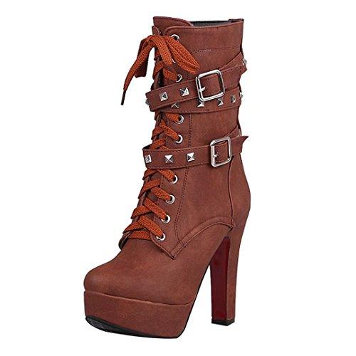 AIYOUMEI Damen Blockabsatz Stiefeletten mit Nieten und Schnalle Plateau Winter Reißverschluss Kurzschaft Stiefel cEs4PO3D6