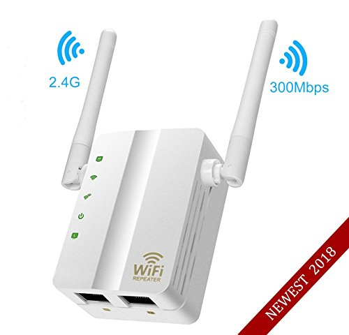 (2018 NEWEST)Wifi Repeater,MSDADA 300Mbps Fast Speed WiFi Extender,2.4GHz Supports Router/Repeater/AP Mode,Internet Signal Booster Extending WiFi to Smart Home & Alexa Devices((Two Fast Ethernet)White