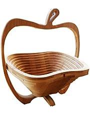 Natural Bamboo Apple Collapsible Fruit & Vegetable Basket Bowl Foldable Wood Fruit Basket Elephant, Folding Fruit Bowl by OTOP Thai