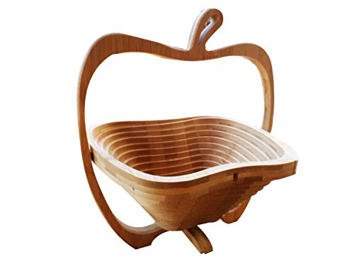Natural Bamboo Apple Collapsible Fruit & Vegetable Basket Bowl Foldable Wood Fruit Basket Elephant, Folding Fruit Bowl by OTOP Thai by OTOP Thai