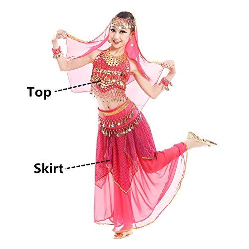 Children Belly Dance Skirt Bollywood Dancing Dress Performance Indian Cloth -