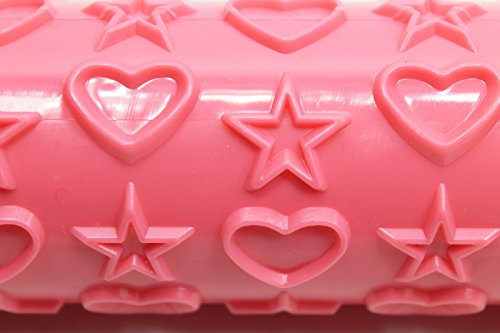 Fondant Embosser Rolling Pin (Pink Hearts and Stars)