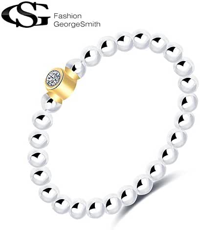G&S Women S925 Sterling Silver Cubiz Zirconia Solitaire Eternity Bead Band Ring for Valenties' Day