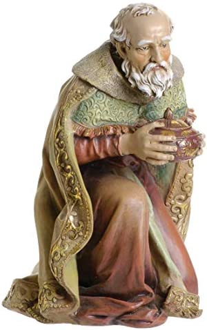 Joseph s Studio by Roman – Colored King Melchior Figure for 27 Scale Nativity Collection, 16.5 H, Resin and Stone, Decorative, Collection, Durable, Long Lasting
