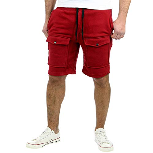 JJLIEKR Men's Casual Classic Elastic Jogger Gym Shorts Training Sweatpants Workout Gym 3/4 Pants with Pocket Red