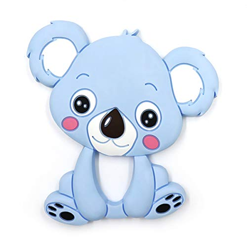 Silicone Baby Teether - Kirecoo Cute Bear Design BPA Free Silicone Bendable & Freezer Friendly Safe Teether Set for 3 to 12 Months 1 Year Old Babies, Infants, Toddlers (Blue Bear)