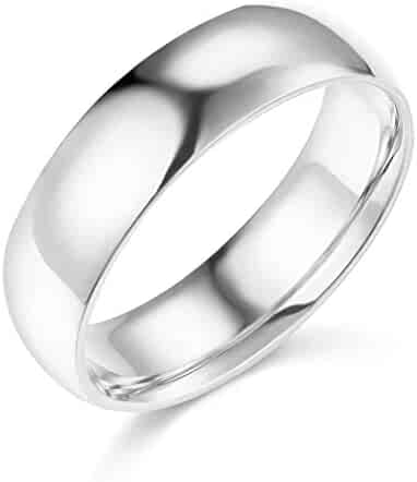 Wellingsale Mens 14k Yellow -OR- White Gold Solid 6mm COMFORT FIT Traditional Wedding Band Ring