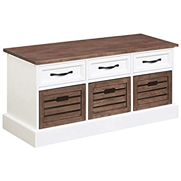 Amazon.com: BOWERY HILL Entryway Storage Cubby Bench in ...