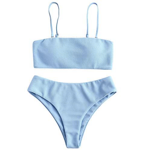 ZAFUL Women's Textured Strapless High Cut Bandeau Bikini Set Two Piece Swimsuit (Blue, S)
