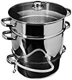 COSTWAY VD-46721KC 11 Quart Juicer Fruit Vegetables Steamer w/Tempered Glass Lid Hose with Clamp Loop Handles Stainless Steel Multi-Use Home Kitchen Furniture, 12'× 12'× 14'(D×H), Silver