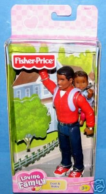 Loving Family Dollhouse Father & Baby Set~African American Version! (Fisher Price Loving Family African American Dolls)