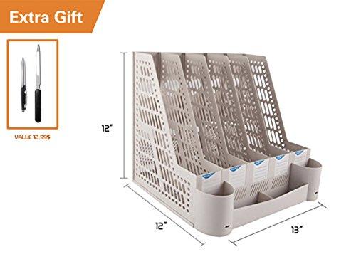 "All Décor Office School Home Desk Plastic Magazine Literature File Holder Rack Case Box Crate Organizer,3/4/5 Slots,Blue/Grey. (L 13"" x W 12"" x H 12"")"