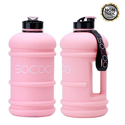 Handle Open Spout - Water Bottle Big 2.2Liter Cool Rubber Coating Reusable Plastic Sports Water Bottle Leak Proof BPA Free Gym Fitness Large Water Jug With Spout (Rubber-coating Pink)