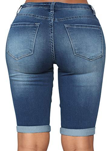 15e300ad96f Dokotoo Womens Fashion Denim Destroyed Stretchy Bermuda Shorts Jeans ...