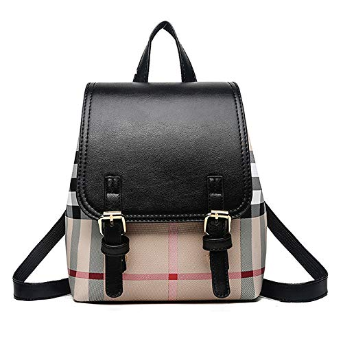 - Vintage 90s Plaid Mini Leather Backpack Purse with College Style Casual School Bag for Girls and Women - Black
