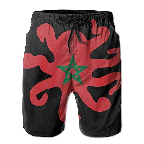 Morocco Flag Octopus Shaped Mens Lightweight Beach Shorts Drawstring Swim Trunks with Pockets