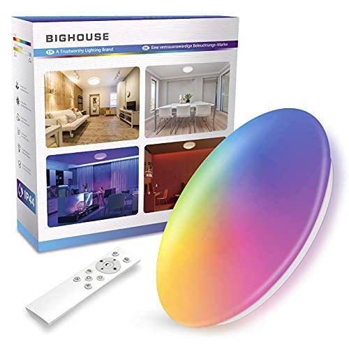 Dimbare LED-verlichting Plafond – 6 kleurverandering met afstandsbediening, 100 W equivalent, 1600 lumen 18W badkamer…