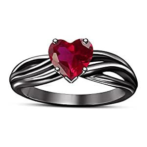 TVS-JEWELS Black Rhodium Plated Sterling Silver Solitaire Heart Shape Pink Sapphire Engagement Ring (5)