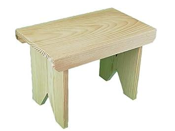Taburete de madera rústico. En crudo, para decorar. Escalón.: Amazon.es: Hogar