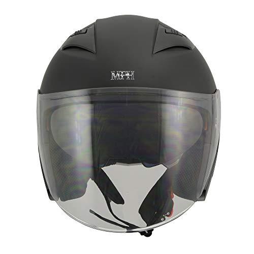 Milwaukee Performance Helmets Men's open face 3/4 helmet (MAT BLACK, M)