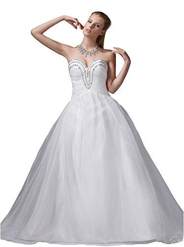 Beading Ivory Sweetheart Neck Rhinestone Floor-length Wedding Dress (18, White) Beading Sweetheart Neck Floor