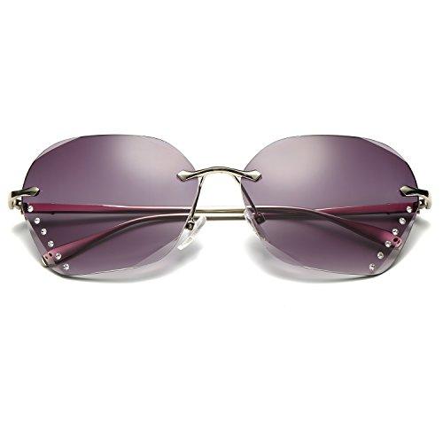 a89a57e958a0 best LOMEDO Womens Fashion Sunglasses Rimless Metal Frame with Diamond on