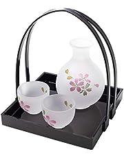 Hanafubuki Wazakura Japanese Sake Serving Glass Set with Tray, Made in Japan, Handmade Tokkuri Bottle and Drinking Cups, Cherry Blossom Sakura Design - Sakura Pink