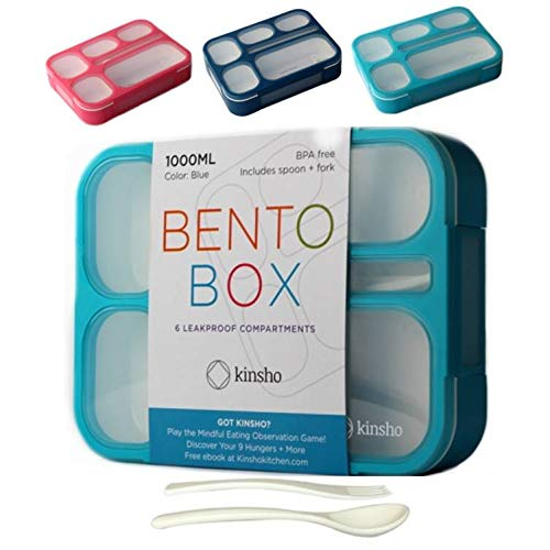 Bento Lunch-box for Kids Boys Girls | Leak-proof School Bentobox | Meal Prep Portion Container Lunch-Boxes for Adults | BPA-Free, Microwave Safe, 6 Compartments | Blue