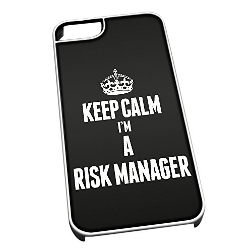 Bianco cover per iPhone 5/5S 2667nero Keep Calm I m A rischio manager