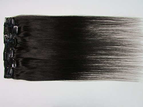Straight Remy Clip in Real Human Hair Extensions for Full Head (26inch 120g/7pcs, Color #1b Natural Black)