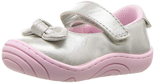 Stride Rite Girls' SR-Lily Mary Jane Flat Silver, 3 M US Infant ()