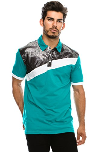 Mens Hipster Faux Leather Crocodile Snakeskin Panel Jersey Polo TURQ T-shirt (Faux Crocodile Trim)