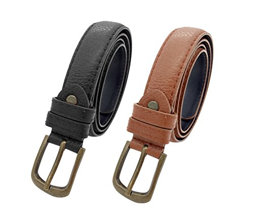 Women Girls Classic Solid Color Adjustable Waist Belt Pack of 2 (L, black tan) (Pants Tan Jeans)