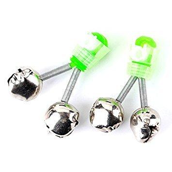 (Fishing Bells Alarm - TOOGOO(R)10pcs Fishing Rod Tip Twin Bells Ring Fish Bait Alarm, Green Silver)
