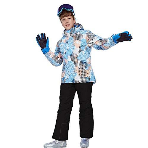 Children Winter Snowboard Skiing Parka Jacket Snow Bib Snowsuit Set Warm Snowsuit Hooded Ski Jacket + Pants 2 Pcs Set
