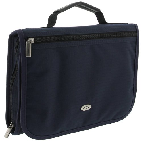 Three-Fold Textured Poly-Canvas Bible Organizer (Large, Navy Blue)