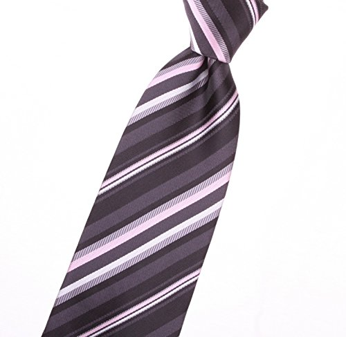 Gray Stripe Tie (Graphite gray and battleship grey ties with carnation pink stripes(was 1753) - by Jon vanDyk)