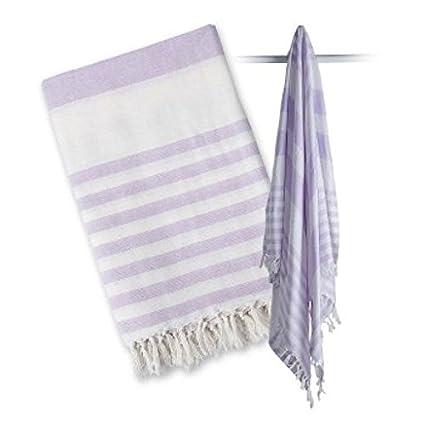 lulujo Turkish Towel, Ocean Blue/White LJ704